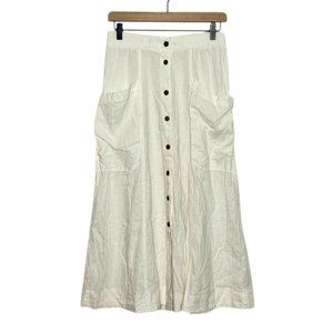 UO White Linen Blend Button Front Maxi Skirt